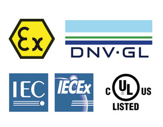 Industry approval marks and labels.